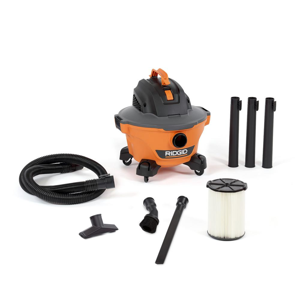 RIDGID 6 Gal. 3.5-Peak HP NXT Wet/Dry Shop Vacuum with Filter, Hose, Wands, Utility Nozzle, Crevice Tool and Dusting Brush
