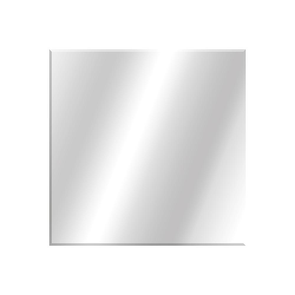 36 in. W x 36 in. H Frameless Square Beveled Edge Bathroom Vanity Mirror in Silver