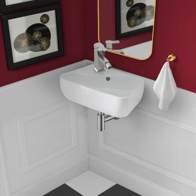 Plaisir 18 in. x 11 in. Ceramic Wall Hung Vessel Sink with Left Side Faucet Mount in White