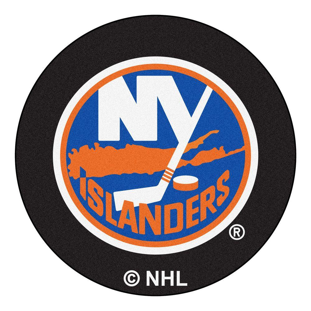 New York Islanders Black 2 ft. 3 in. x 2 ft. 3 in. Round Accent Rug
