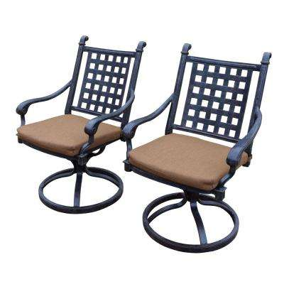 Belmont Aluminum Patio Dining Chair with Sunbrella Canvas Teak Cushion (2-Pack)