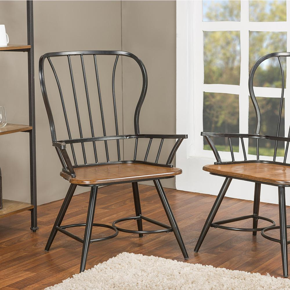 Dining Arm Chairs Black Design: Baxton Studio Elfrida Black Metal Dining Armchairs (Set Of