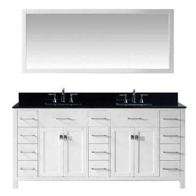 Caroline Parkway 72 in. W x 22 in. D Vanity in White with Granite Vanity Top in Black with White Basins and Mirror