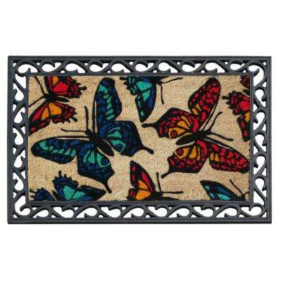 A1HC First Impression Butterflies 24 in. x 36 in. Rubber Coir Door Mat
