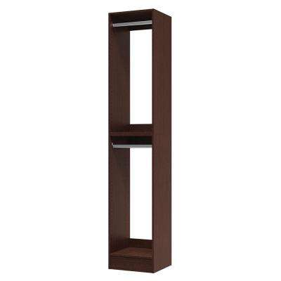 15 in. D x 15 in. W x 84 in. H Utility Tower and Melamine Closet System Kit in Mocha