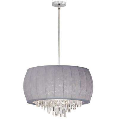 Catherine 6 Light Halogen Polished Chrome Chandelier with Silver Lyrca Shades