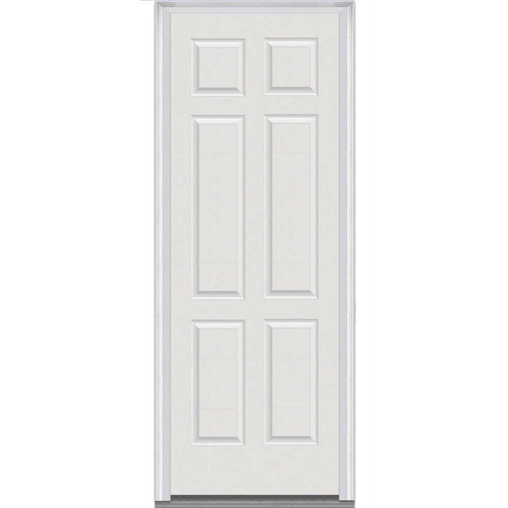32 in. x 96 in. 6-Panel Painted Majestic Right-Hand Steel Exterior Prehung Front Door