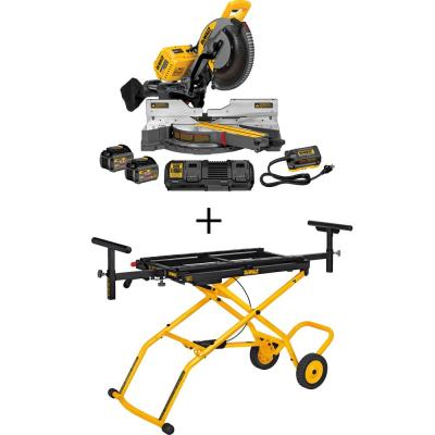 FLEXVOLT 120-Volt MAX Cordless Brushless 12 in. Miter Saw with AC Adapter, (2) FLEXVOLT 6.0Ah Batteries & Rolling Stand