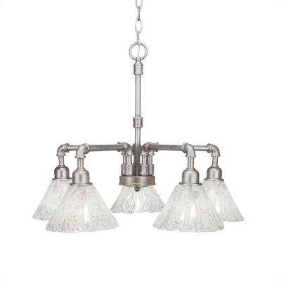 5-Light Aged Silver Chandelier with Clear Seeded Glass Shade