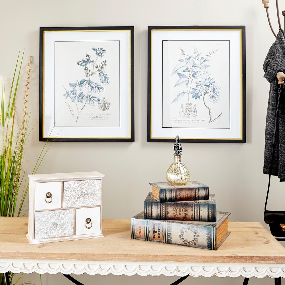 Litton Lane Rectangular Blue Vintage Flower Illustrations Framed Wooden Wall