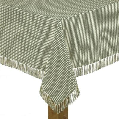 Homespun Fringed 60 in. x 102 in. Sage 100% Cotton Tablecloth