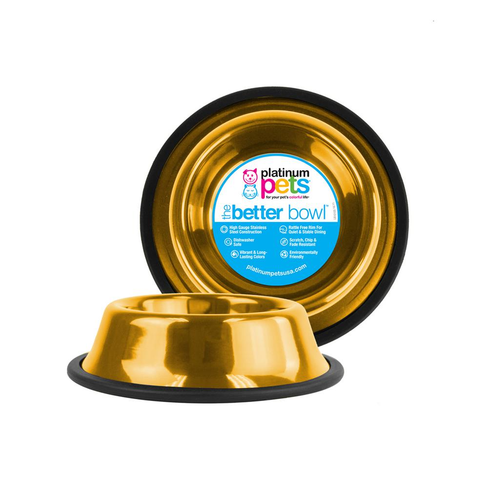 Platinum Pets 3.5 Cup Non-Tip Stainless Steel Dog Bowl, 24K Gold
