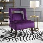 Salvador Plum Velvet Button Tufted Armless Slipper Chair with Open Back Style