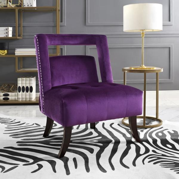 Inspired Home Salvador Plum Velvet Button Tufted Armless Slipper Chair with