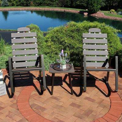 All-Weather Slatted Outdoor Poly Patio Rocking Chairs with Side Table (3-Piece)