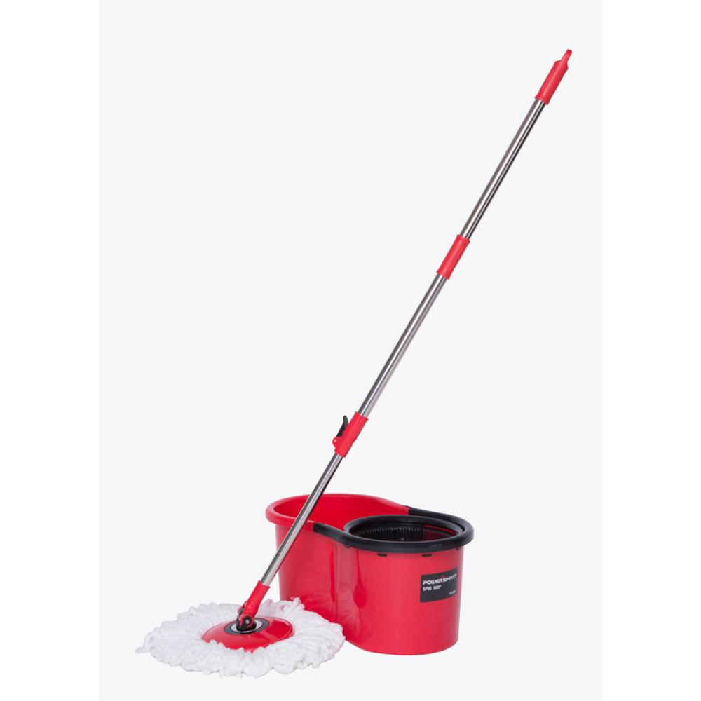 PowerSmart Flat Spin Mop Kit with Bucket and 2 Microfiber...