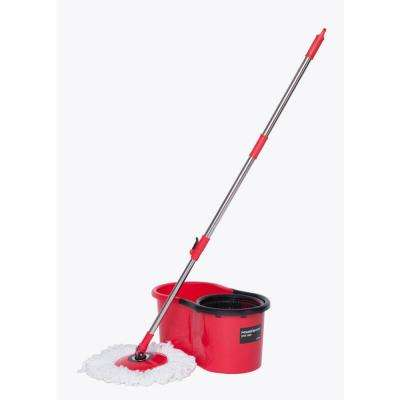 Flat Spin Mop Kit with Bucket and 2 Microfiber Mop Heads
