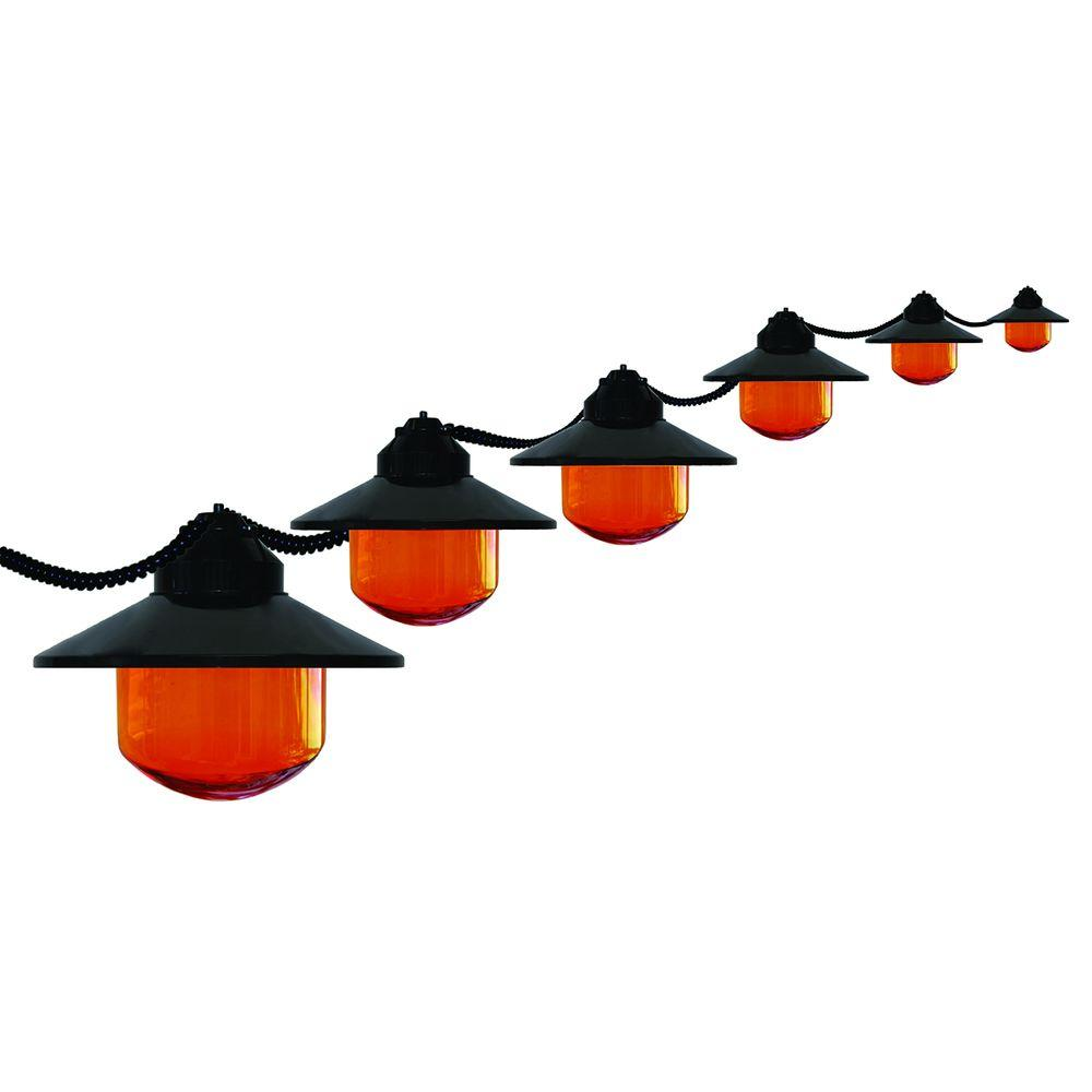 Polymer Products 6-Light Outdoor Black Shaded String Light Set with HD Orange Globes