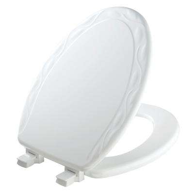 Sculptured Ivy Elongated Closed Front Toilet Seat in White