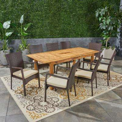Davenport Multi-Brown 9-Piece Wood and Wicker Outdoor Dining Set with Creme Cushions