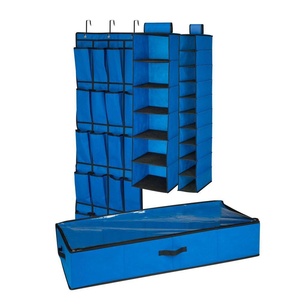 Honey-Can-Do Honey-Can-Do 4-Piece Blue Closet Organization Set, blue/black trim