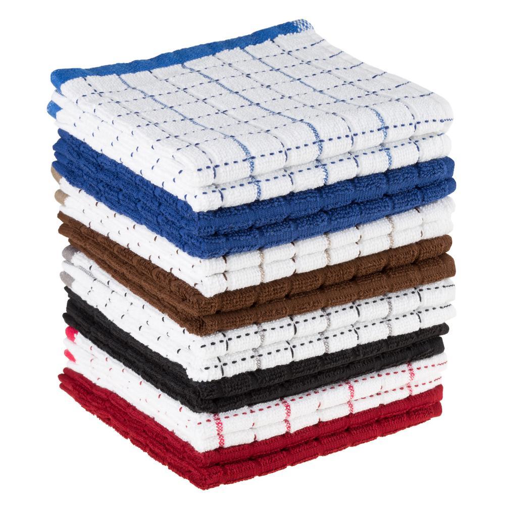 Multi Windowpane Pattern Cotton Kitchen Towels (Set of 16)