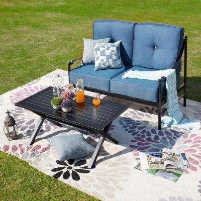2-Piece Metal Patio Deep Seating Set with Blue Cushions