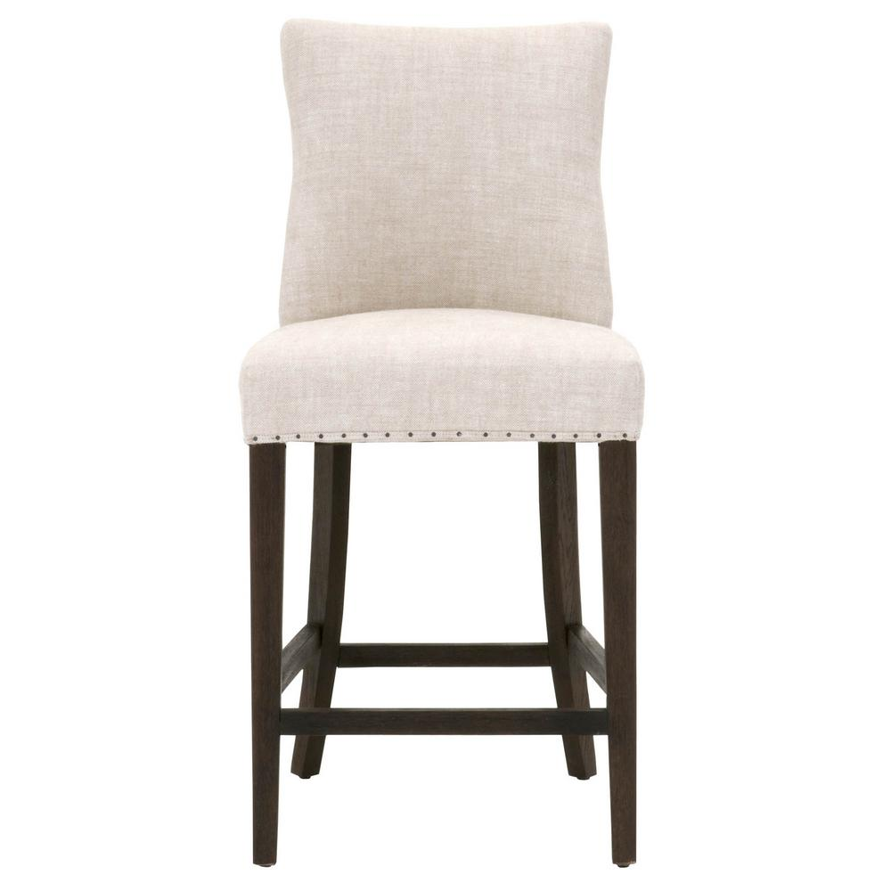 Orient express furniture lourdes 26 in bisque french linen rustic java oak counter stool 6416 csup bi bt rj the home depot