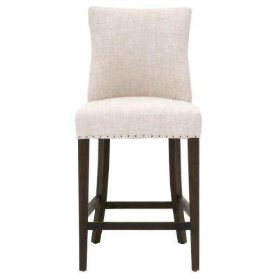 Lourdes 26 in. Bisque French Linen, Rustic Java Oak Counter Stool