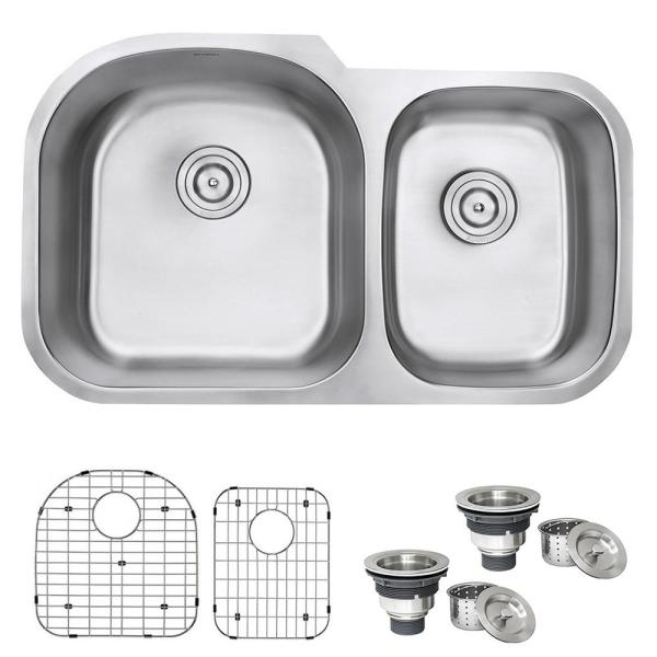 Ruvati 34 In Double Bowl 60 40 Undermount 16 Gauge Stainless Steel Kitchen Sink Left Configuration Rvm4600 The Home Depot