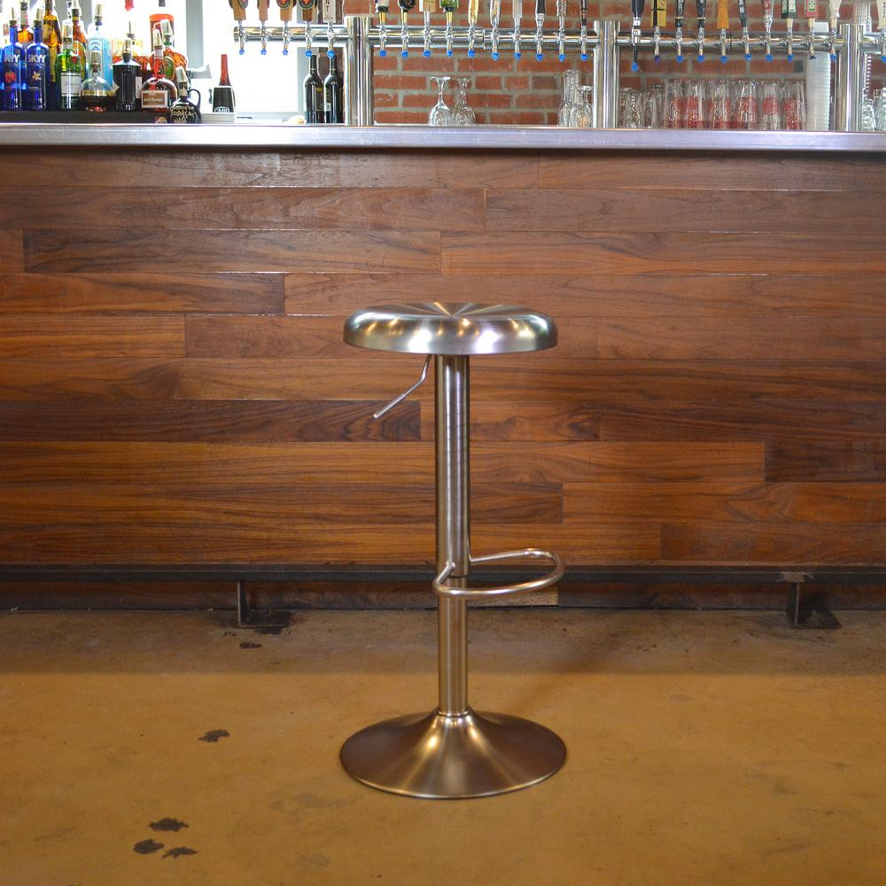 Amerihome loft adjustable height brushed nickel bar stool