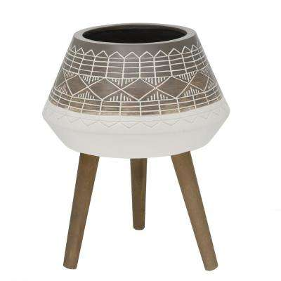 Mid-Century 18 in. Fiberglass Pot with Wood Stand Planter