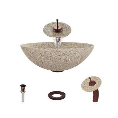 Stone Vessel Sink in Honed Basalt Tan Granite with Waterfall Faucet and Pop-Up Drain in Oil Rubbed Bronze