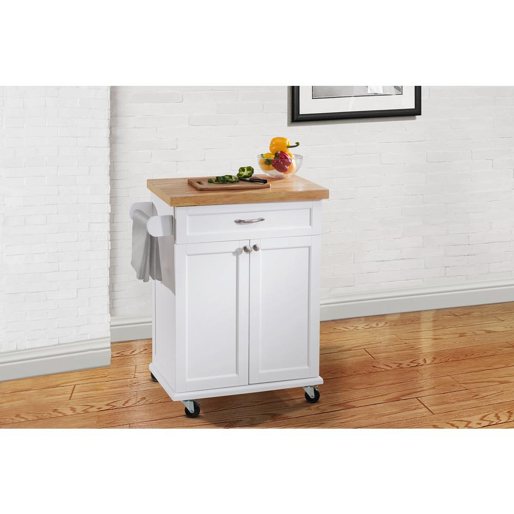 Hampton Bay Ashby White Kitchen Cart 120306008 W The Home Depot