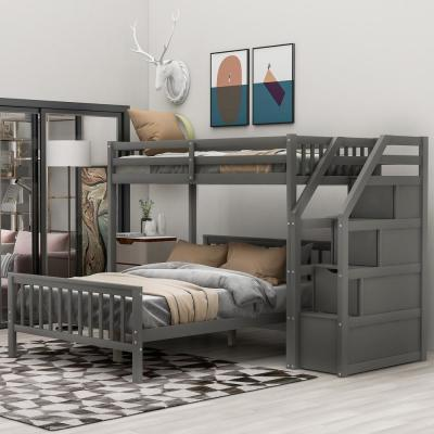 Gray Twin Over Full Loft Bed with Storage