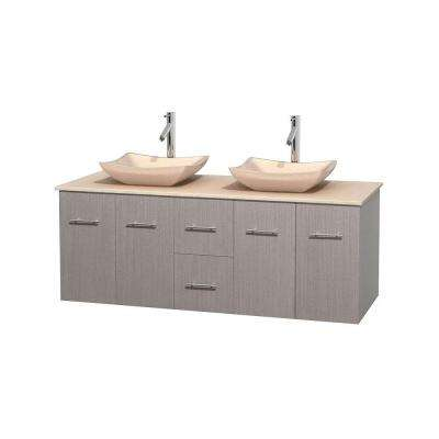 Centra 60 in. Double Vanity in Gray Oak with Marble Vanity Top in Ivory and Sinks