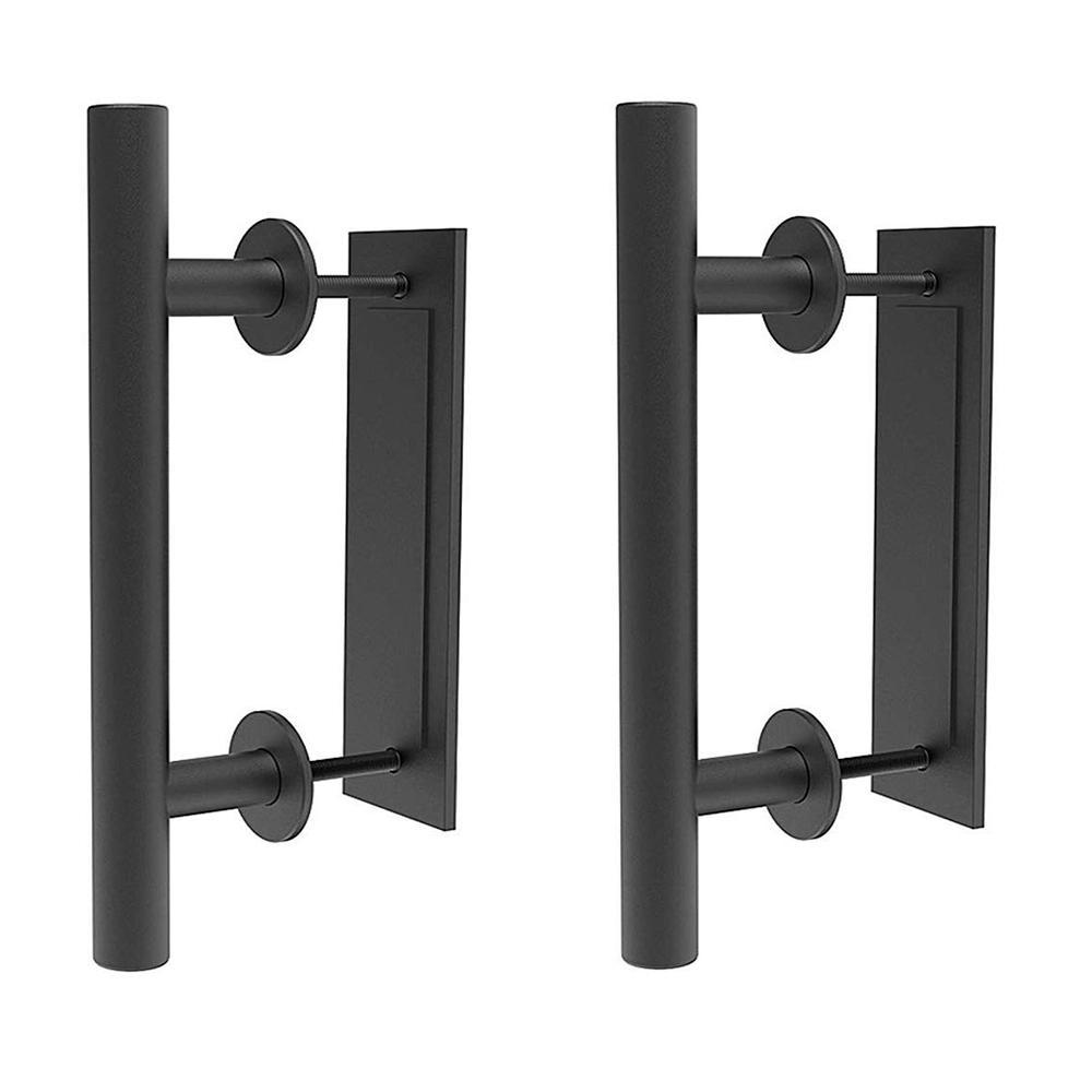 12 in. Black Ladder Pull and Flush Sliding Barn Door Handle Set (2-Pack)