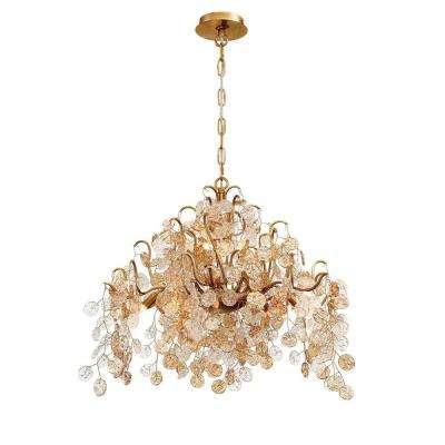 Campobasso 11-Light Gold Chandelier with Glass Wafers Shade