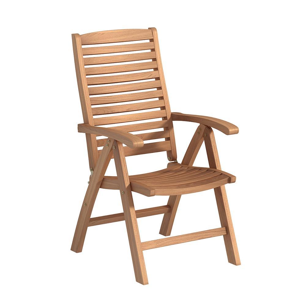 Folding Natural Teak Outdoor Dining Chair