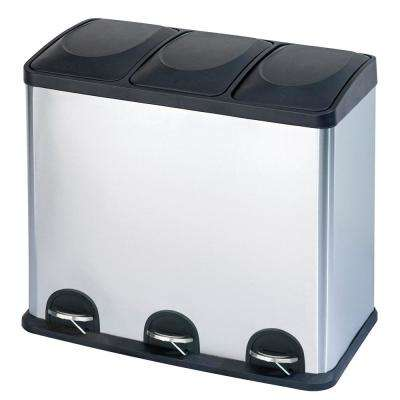 12 Gal. 3-Compartment Trash Can and Recycling Bin