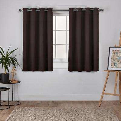 Sateen 52 in. W x 63 in. L Woven Blackout Grommet Top Curtain Panel in Espresso (2 Panels)