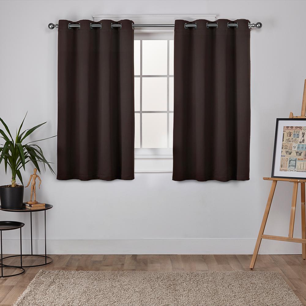 Sateen Espresso Twill Weave Blackout Grommet Top Window Curtain