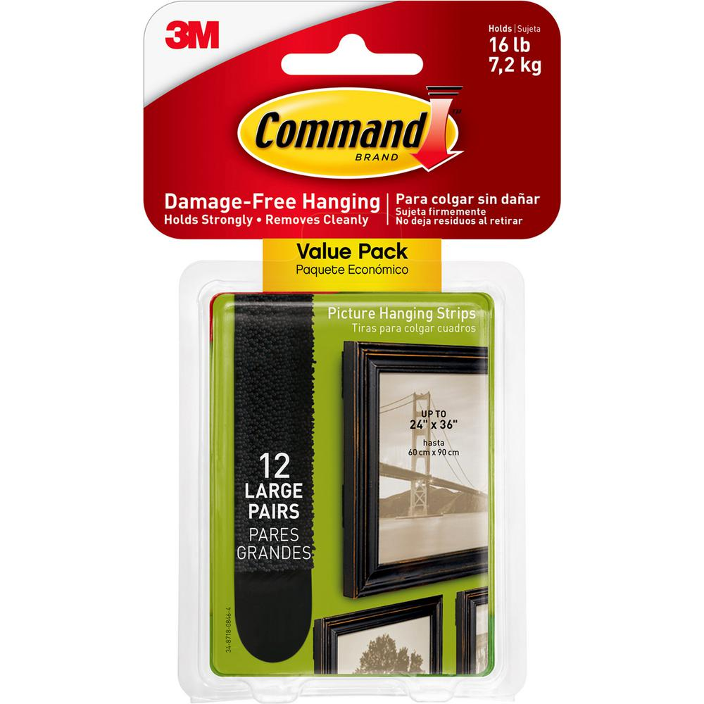 Command Large Black Picture Hanging Adhesive Strips (Set of 12-Adhesive Strips)