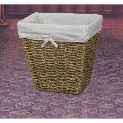 10.5 in. W x 8 in. D x 10.5 in. H Woven Seagrass Small Waste Bin Lined with White Washable Lining