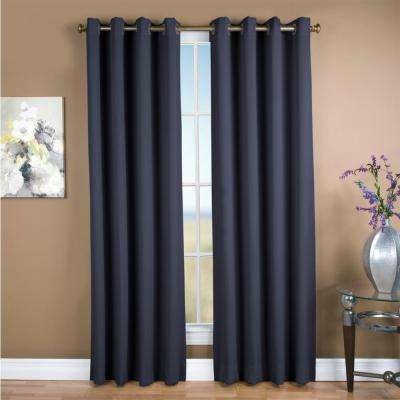 Ultimate Blackout 56 in. W x 84 in. L Polyester Blackout Window Panel in Blue
