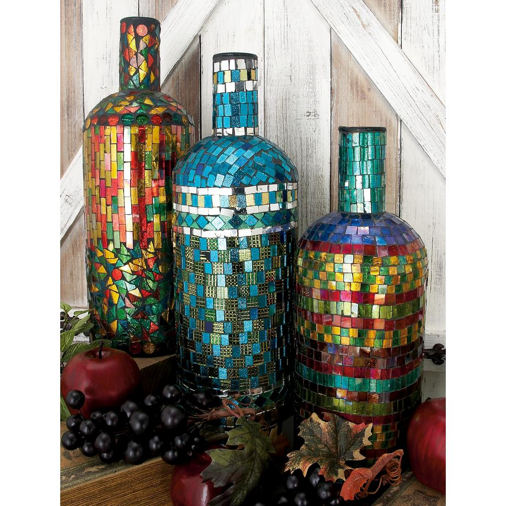 15 in. Multi Mosaic Glass and Iron Wine Bottles (Set of