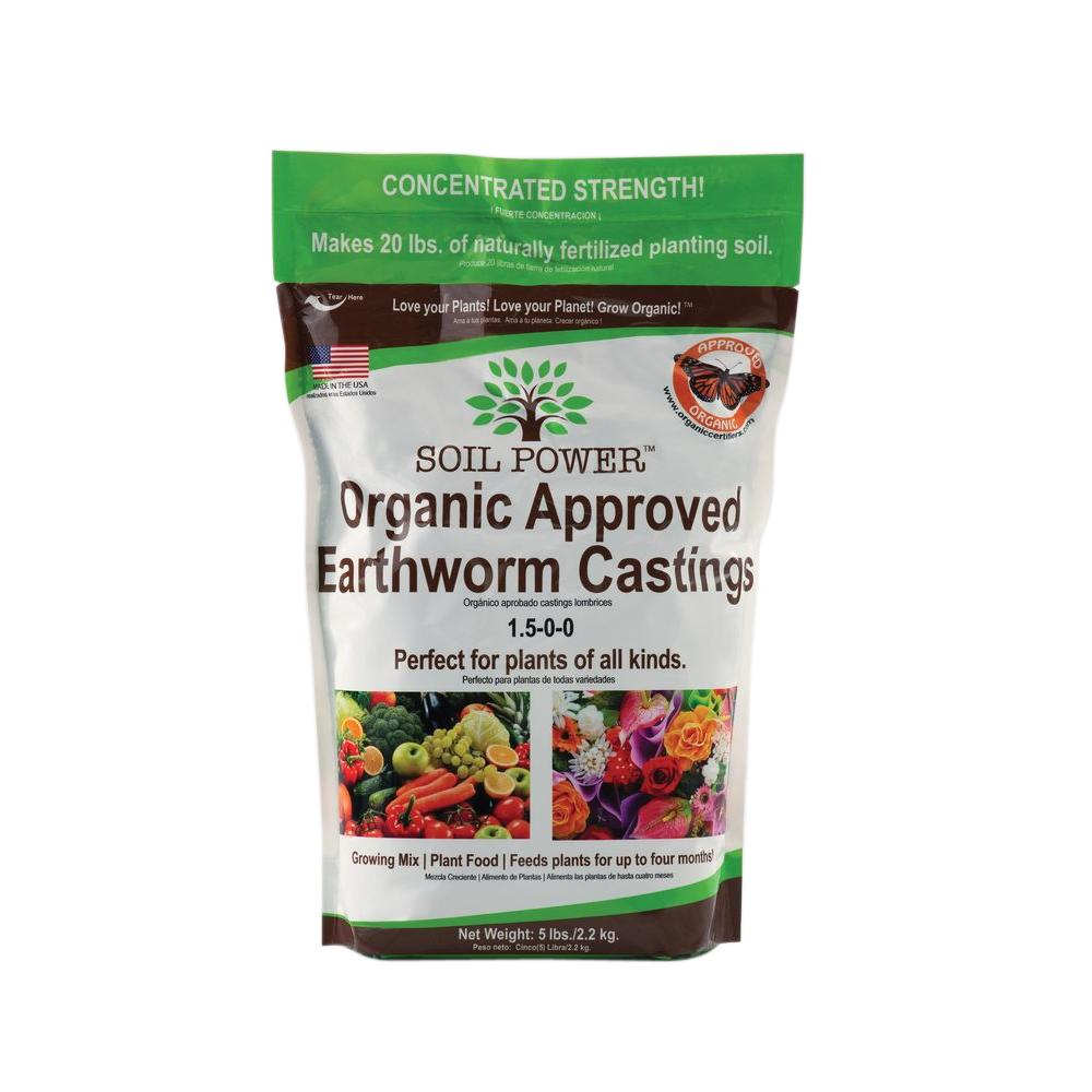 Soil Power 5 lb. Bag Concentrated (5 lbs. makes 20 lbs.) Pure Organic Earth Worm Castings