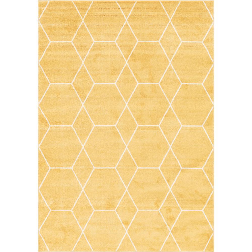 Trellis Frieze Yellow/Ivory 7 ft. x 10 ft. Geometric Area Rug