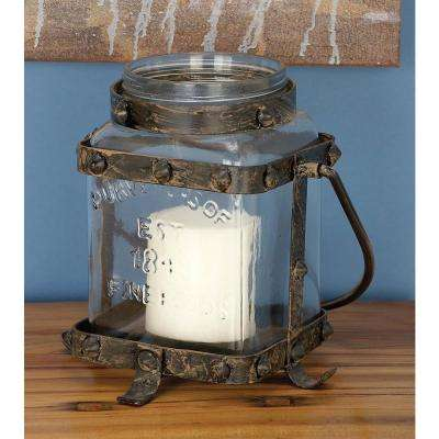 Rustic Farmhouse Bronze Candle Lantern