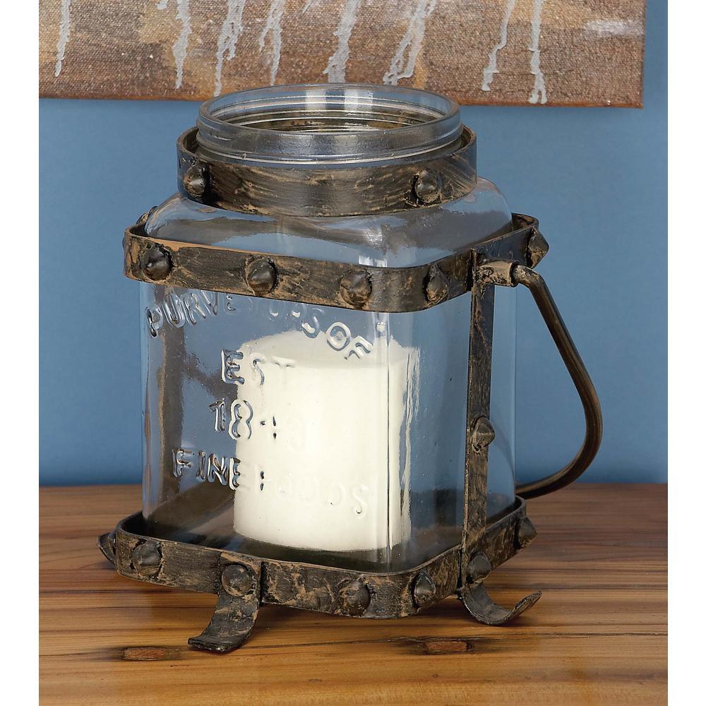 Rustic Farmhouse Bronze Candle Lantern